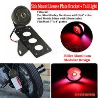 Side Mount LED Tail Light License Plate Bracket Custom For Harley Bobber Chopper