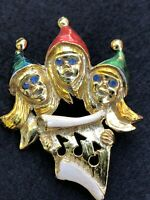 Blue Rhinestone Red Green Enamel Goldtone Xmas Carolers Vintage Brooch Pin