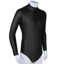 Men's Soft Tights Long Sleeve Stand Collar Bodysuit Underwear Leotard Jumpsuit