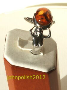 Baltic Amber Mermaid Ring with Silver 925 Sirene