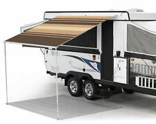 8 ft Campout Bag Awning in Sierra Brown Denim Stripes for Pop Up Camper Trailer