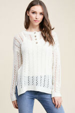 NEW STACCATO pulse boutique ivory eyelet crochet button sweater top L