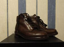 NIB CHANEL Brown Leather Lace Up Combat Hiking Short Boots Size 36