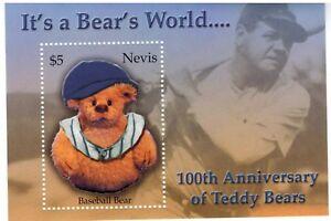 """Nevis 2003 - Teddy Bears """"Its A Bears World""""  - Babe Ruth - Souvenir Sheet - MNH"""