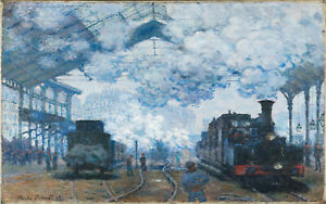 Vintage painting art claude monet steam train station old poster canvas framed