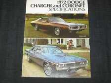 1972 Dodge Charger & Coronet Specs Sales Brochure CDN