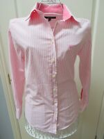 GANT Pink White Pinstripe Shirt Blouse Long Sleeve 12 Stretch Fitted Top Cotton