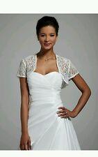 David's Bridal Short Sleeve Lace Jacket, YP105, SIZE: Small, IVORY ($79 retail)