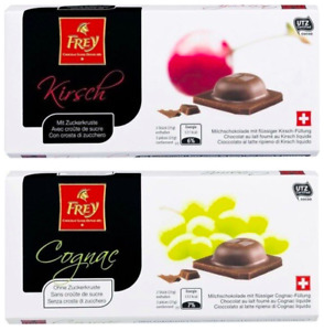 Frey Milk Chocolate With Kirsch Or Cognac Filling 10 or 15 x 100g Bars Not Lindt