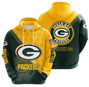 Green Bay Packers Hoodie Mens Athletic Hooded Sweatshirt Pullover Gift for Fans