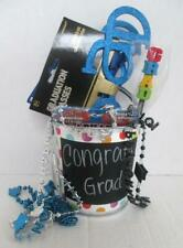 Lot of Graduation Party Items in Metal Bucket Led Pin Glasses Beads Pencil