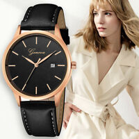 Fashion Men Women's Stainless Steel Leather Band Quartz Analog Round Wrist Watch