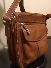 Fossil Leather Cross body purse Warm Brown  Three Compartments