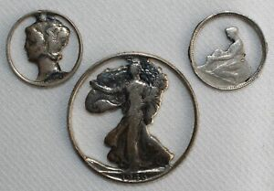 3 Cut Out Coins Silver & Nickel Mercury 10c Walking Liberty 50c Belgium Franc