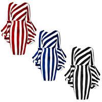 Women Stripe Bodycon Dress Ladies Evening Party Ball Gown Round Collar Dresses