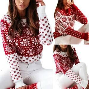 Damen Weihnachtspullover Norweger Sweater Pulli Strickpulli Weihnachten Xmas DE.