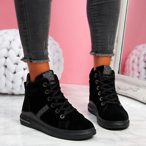 WOMENS LADIES HIGH TOP TRAINERS LOW HEEL GLITTER SNEAKERS WOMEN SHOES SIZE
