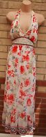 OPL WHITE RED FLORAL BEADED NECK HALTERNECK PEARL LONG MAXI FLIPPY DRESS M 12