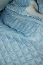 SKY BLUE QUILTED NYLON FABRIC DRAPING LINING CRAFTING LIGHT BLUE ICE CO