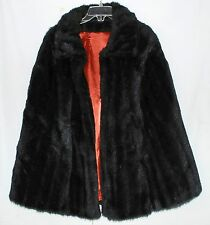 Vtg Black Faux Mink Fur w/ Arm Slits Cape Orange Satin Lining One Size Fits Most