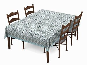 Hand Block/Batik Printed Cotton Rectangular Table Cloth for 6 Seater DiningTable