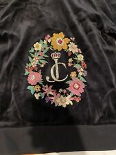 Juicy Couture Floral Cameo Velour Tracksuit Small Black
