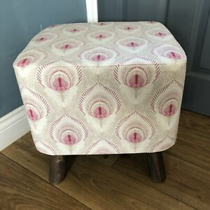 New Square Footstool With Handmade  Cover In Laura Ashley Montague Ruby Fabric