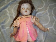 composition doll vintage cracked for repair, good teeth, good eyes
