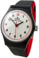 Meister Anker Herrenuhr Handaufzug schwarz weiß rot Leder vintage mens watch