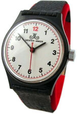 Meister Anker Men's Watch Hand Wound Black White Red Leather Vintage Men's Watch