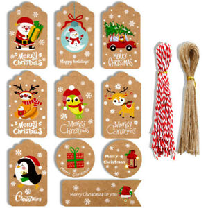 100Pcs New Christmas Kraft Paper Gift Tags Scallop Label Luggage Blank + Strings