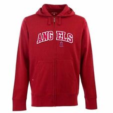 NEW Mens Los Angeles Angels FullZip Hooded Applique Sweatshirt Antigua Large Red
