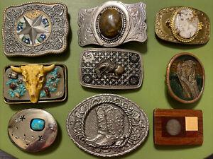 Lot of 9 Vintage Belt Buckles