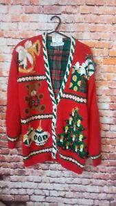 marisa christmas classics vintage cardigan size m armpit to armpit 20 inches