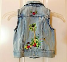 Girls Gap Denim Vest ~ Palm Tree Embellishment Stitching on Back (Xs 4-5) Summer