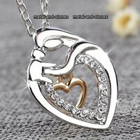 ROSE GOLD & SILVER Necklace Mum Heart Xmas Gift For Her Wife Daughter Lady Women