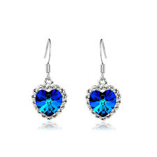 Royal Blue Hearts of Oceans Crystal Drop Earrings E244