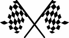 Huge 22x45 inches crossed checkered racing flag decal design 2 trailer US Cargo