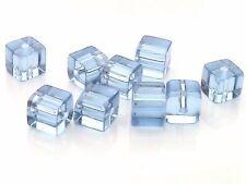 80 x 4mm Light Blue Polished Glass Cubes Beads H86