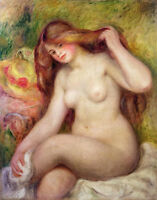 Beautiful Oil painting abstract nude fat young woman after bathing & long hair