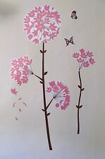 Pink Flower with Brown Stalk springtime flower PVC Removable Wall Sticker