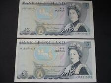 More details for pair of 1980 somerset £5 notes uncirculated and consecutive  duggleby b343.