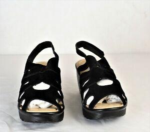Skechers Womens Suede Peep Toe Slingback Wedges Stylin Black 8.5M New