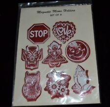 Vtg Hippie Vinyl Magnets Memo Holders DEVIL OWL SMILEY FACE DUTCH GIRL LOVE NOS