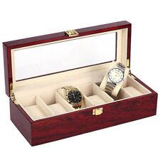 Box Wristwatch Jewelry Storage Organizer 6 Slot Wooden Watch Display Case