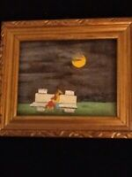 Miniature Framed Vintage Painting Of Couple In Moonlight