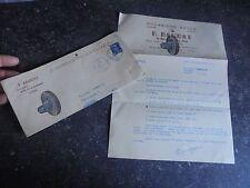 Ancien Papier à Entète F- Baudat Lyon Pneu Auto d'Occasion 1952 . 203 Peugeot