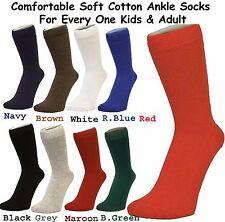 Mens Women Kids Winter Plain Colour Comfortable Soft Cotton Ankle Socks 4-11 Kids 12- 3 5 Maroon