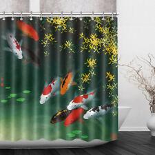 "Bathroom Shower Curtain Koi Fish River Fabric Mildew Resistant Bath Curtain 72"""