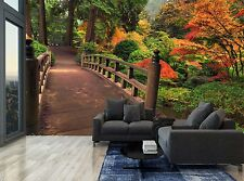 Forest Trees Autumn Bridge Plants Wall Mural Photo Wallpaper GIANT WALL DECOR